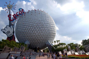 Epcot's famous silver golf ball, Spaceship Earth. Man, check out all those triangles!