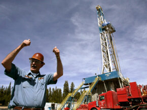 A drilling rig at the Newberry crater near LaPine, Ore., is accessing the heat below the Earth's surface.