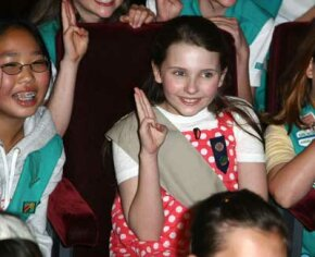 Actress Abigail Breslin attends a ceremony inducting her into the Girl Scouts of the USA, held at 20th Century Fox Studios on March 26, 2008 in Los Angeles, Calif.