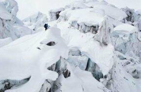 Mountain climbers on Ruth Glacier at Denali Park, Alaska