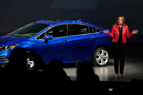 General Motors CEO Mary Barra reveals the new GM 2016 Chevrolet Cruze at The Filmore Detroit on June 24, 2015.