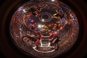 The Torres Family performs with 8 motorcycles in a 16-foot steel sphere, where speeds can reach up to 65 miles per hour.