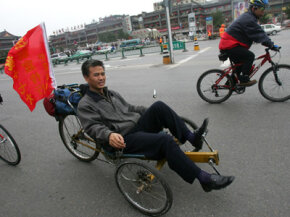 The Goblin is structured like recumbent tricycles, like this one seen in China.