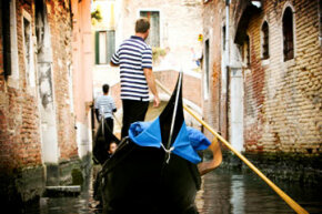 Today's gondoliers wear striped shirts.