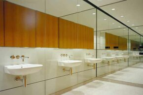 """Your communal bathroom may not look as spotless as this but that doesn't mean you have to pitch a fit. Aim for """"generally clean"""" rather than perfection."""