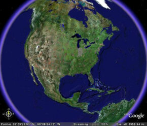 The starting image in Google Earth is a satellite view of North America. With Google Earth you can zoom from continent to street level. See pictures of famous landmarks.