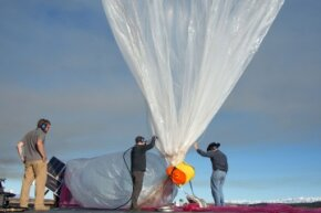 A Project Loon balloon being prepped for test flight