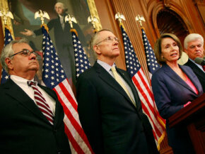 Democrat leaders (l-r) Rep. Barney Frank, Sen. Harry Reid, Speaker Nancy Pelosi, and Sen. Christopher Dodd) announce a tentative agreement on the EESA on Sunday, Sept. 28.