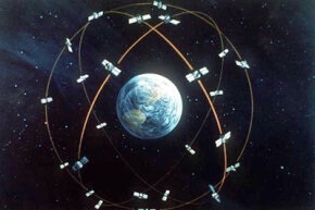 Artist's concept of the GPS satellite constellation