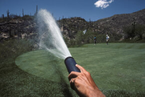 Fifteen percent of fresh water consumed in the United States is used for irrigation. Places like golf courses use far more.