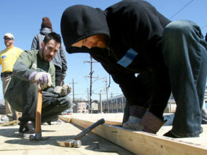 The rock band Linkin Park works with Habitat for Humanity to build a house. The charitable organization takes all kinds of donations, including lumber, appliances and paint.