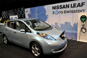 The Nissan LEAF prototype electric car on display at the North American International Auto Show in Detroit, Mich., on Jan. 12, 2010. See more green science pictures.