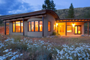 A modern earth berm home. See pictures of home construction.
