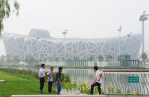 Beijing Image Gallery Despite extensive efforts to reduce pollution, the skies of Beijing were still decidedly hazy only two weeks before the start of Olympic Games. See more pictures of Beijing.