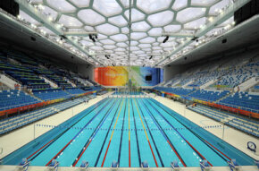 """The polymer skin used to build the """"Water Cube"""" aquatics center uses NASA technology."""