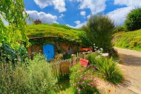 """The greensman was probably very busy on the set of """"The Hobbit."""" Here's a shot of Hobbiton, filmed in Matamata, New Zealand."""