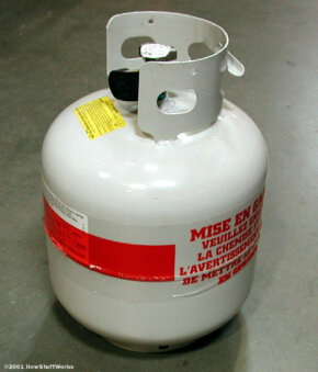Most gas grills use a propane tank like this one.