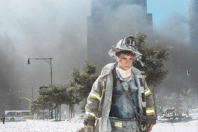 A New York firefighter walks away from ground zero shortly after the Twin Towers collapsed on Sept. 11, 2001.
