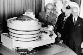 Architect Frank Lloyd Wright, left, looks over his spiral-shaped building for a proposed Guggenheim Museum with arts patron Solomon R. Guggenheim, right, and artist Baroneness Hilla Rebay, director of the proposed museum, on Sept. 20, 1945.