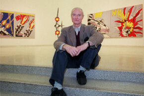 Artist Roy Lichtenstein poses at the Solomon R. Guggenheim Museum in New York City in October 1993. Lichtenstein was a pioneer of the Pop Art movement and best known for his oversized comic book-style images.