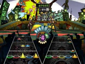 Play simultaneously with a friend in co-op mode to become rock stars together.