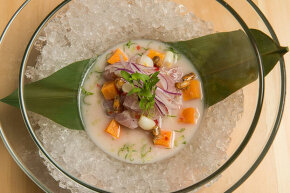 A ceviche dish made with red snapper and leche de tigre is served at the restaurant China Chilcanco in Washington, D.C.