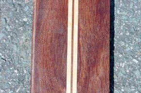 Sample plank of Cumaru with Maple inlay