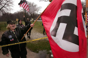 Neo-Nazi protesters demonstrate near where the opening ceremonies were held for the Illinois Holocaust Museum and Education Center.