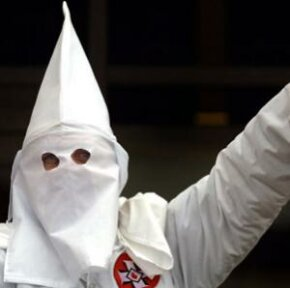 A Klansman at a white power rally in Skokie, Ill., in 2000