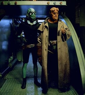 "Left to right: ""Mer-Man"" Abe Sapien (Doug Jones) and Hellboy (Ron Perlman)"