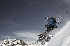 This skier will get some great shots of his descent thanks to his helmet camera.