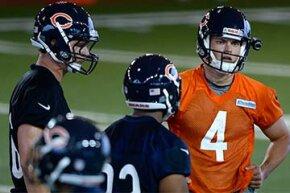 Chicago Bears quarterback Matt Blanchard (4) wears a helmet camera during the Bears Rookie Minicamp in 2013.