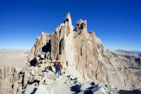 Mount Whitney is the highest mountain in the lower 48 United States, and hikers can ascend to its 14,494-foot (4,418-meter) peak.