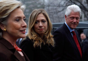 Hillary Clinton, shown in Chappaqua, N.Y., in February 2008, was supported by her daughter, Chelsea, and husband, former president Bill Clinton, during her bid for the presidency in 2008.