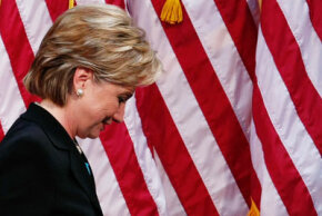 Sen. Hillary Clinton leaves the stage in Washington on June 7, 2008. Clinton had just suspended her campaign, thanked her supporters and endorsed Sen. Obama.