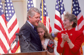Hillary Clinton as the First Lady of Arkansas in 1991, as her husband announces his candidacy for president.