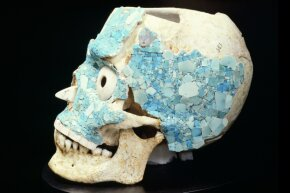A skull decorated with turquoise salvaged from the treasury of Tomb 7 in Monte Alban, Mexico, now rests at the Museo De Las Culturas De Oaxaca. Caso was integral to discovering and excavating the tomb.