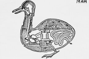 A diagram of the Vaucanson duck's inner workings