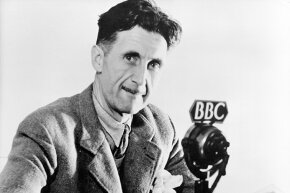 "British author George Orwell is the source for the word ""Orwellian"", a term that has been used by writers on both the left and the right."