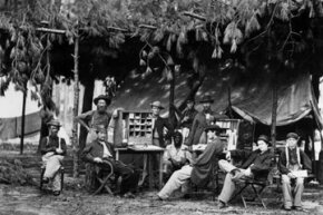 In 1864, battlefield first aid was performed in triage stations, like this one in the camp of the chief ambulance officer of the 9th Army Corps near Petersburg, Va.