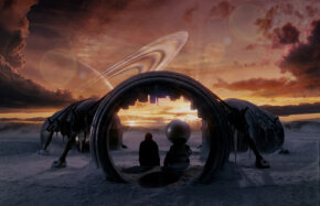 A scene from The Hitchhiker's Guide to the Galaxy movie. See more Hitchhiker's Guide pictures.