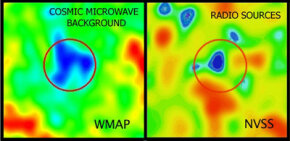 These two images depict temperature variations in the galactic void and surrounding regions. The image on the left was captured by a NASA satellite while the one on the right comes from a radio telescope used in the NRAO Very Large Array Sky Survey.