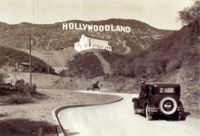 "The original ""Hollywoodland"" sign in the 1920s."