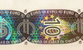 The holograms found on credit cards and other everyday objects are mass-produced by stamping the pattern of the hologram onto the foil.