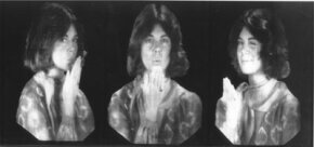 "The famous hologram ""The Kiss"" shows a sequence of similar, stationary images. Your eye sees many frames simultaneously, and your brain interprets them as moving images."