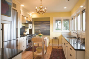 Clear appliances off kitchen counters -- you want to sell counter space, not clutter.