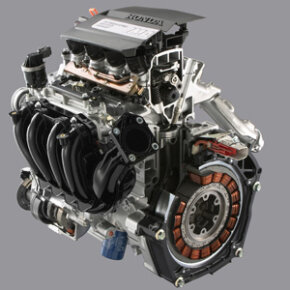 The Honda Civic Hybrid features a 1.3-liter i-VTEC gasoline engine and a 20 horsepower electric motor.