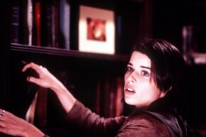 "Neve Campbell appears simultaneously scared and tough in Wes Craven's ""Scream 3."""