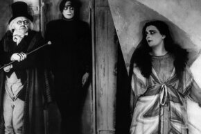 "Left to right, Werner Krauss (Dr. Caligari), Conrad Veidt (Cesare) and Lil Dagover (Jane Olsen) look creeptastic in a scene from Robert Wiene's ""The Cabinet of Dr. Caligari."""