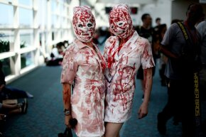 "It took the film ""Blood Feast"" for some people to get in touch with their inner gore. These two bloody nurses appeared at the 2011 Comic-Con in San Diego."